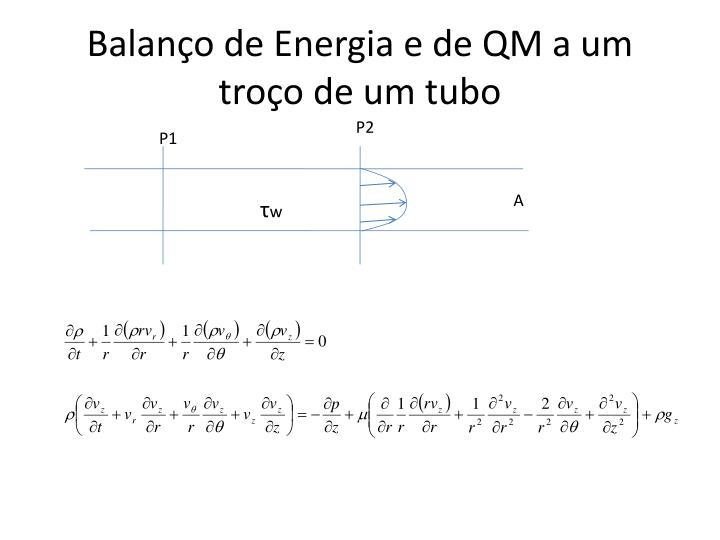 Balanço de Energia e de QM a um troço de um tubo