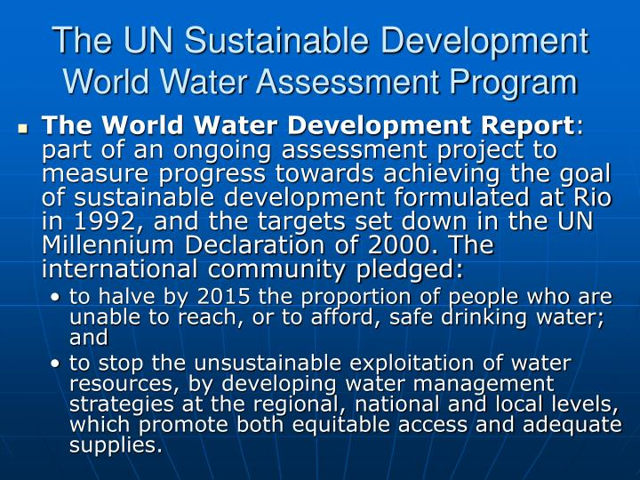 The UN Sustainable Development