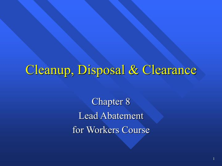 Cleanup disposal clearance