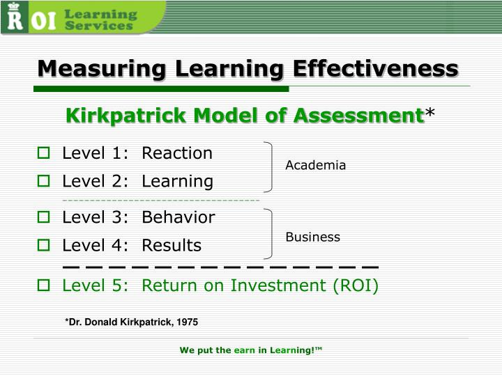 Measuring Learning Effectiveness
