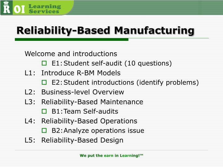 Reliability-Based Manufacturing