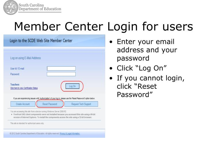 Member center login for users1