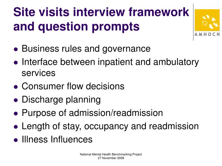 Site visits interview framework and question prompts