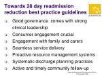towards 28 day readmission reduction best practice guidelines