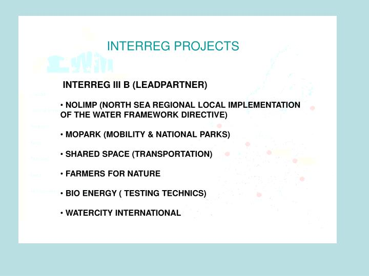 INTERREG PROJECTS