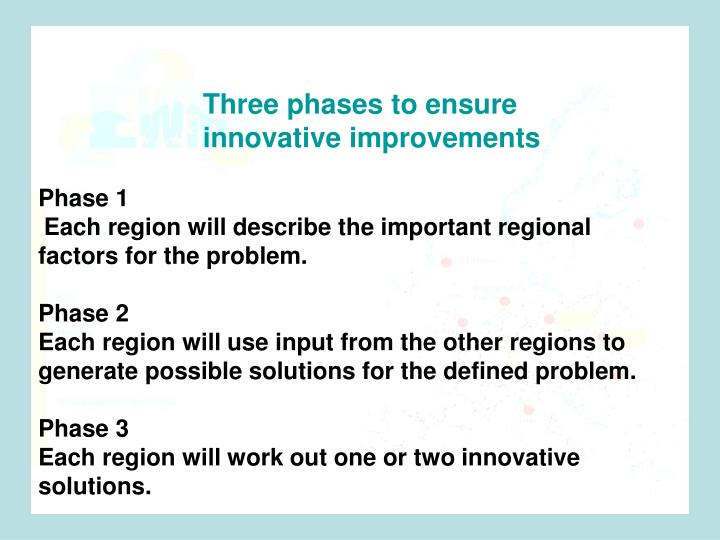 Three phases to ensure innovative improvements .
