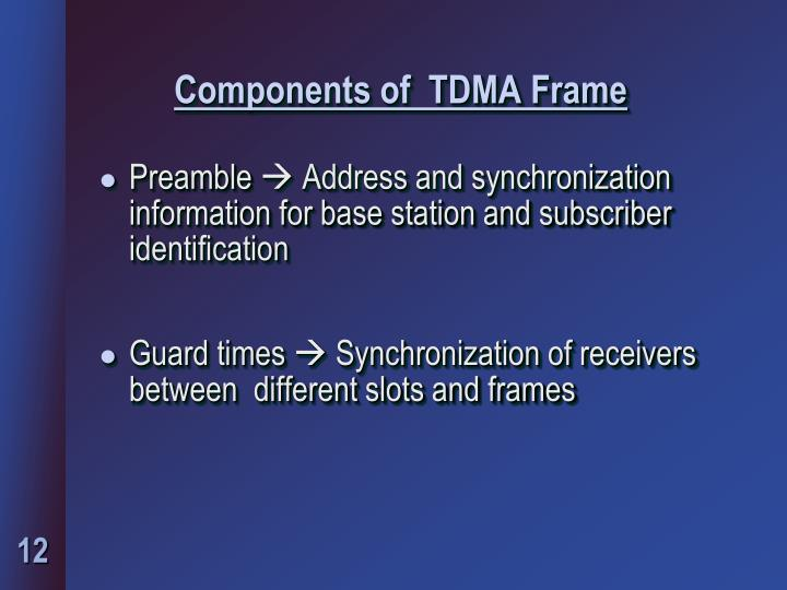 Components of  TDMA Frame