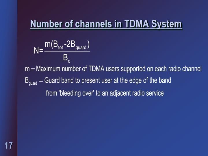 Number of channels in TDMA System