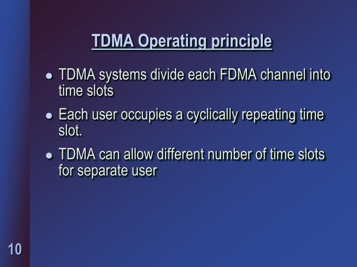 TDMA Operating principle