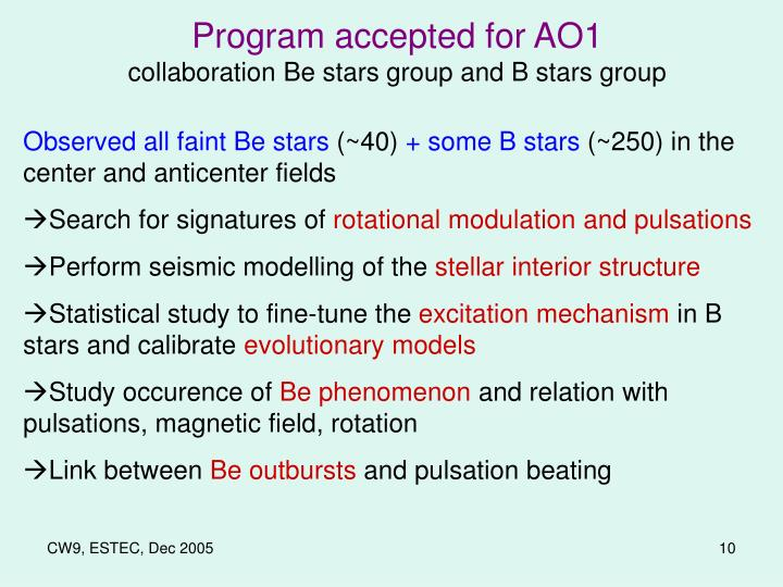 Program accepted for AO1