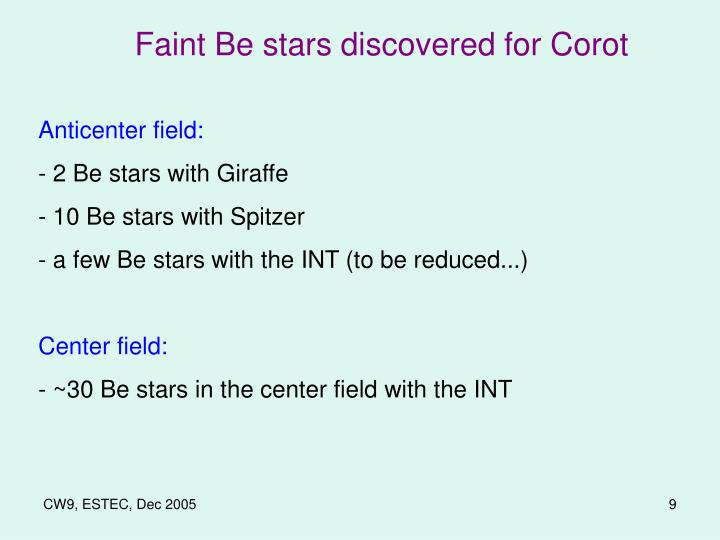 Faint Be stars discovered for Corot