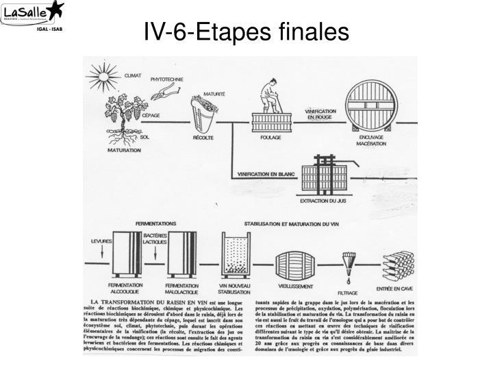 IV-6-Etapes finales