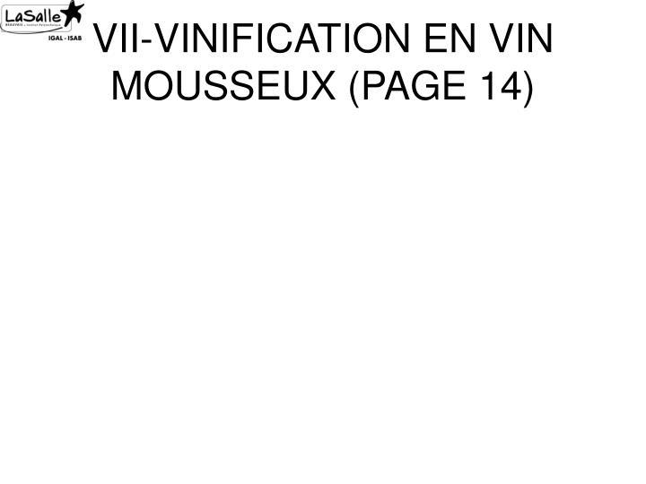 VII-VINIFICATION EN VIN MOUSSEUX (PAGE 14)