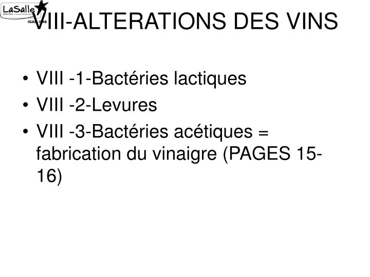 VIII-ALTERATIONS DES VINS