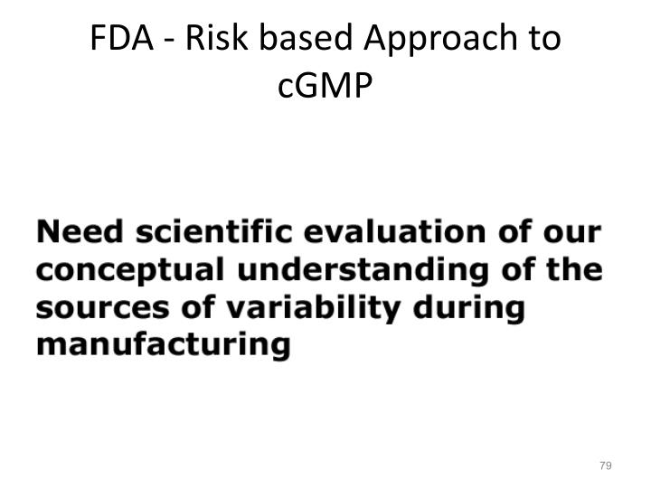 FDA - Risk based Approach to cGMP