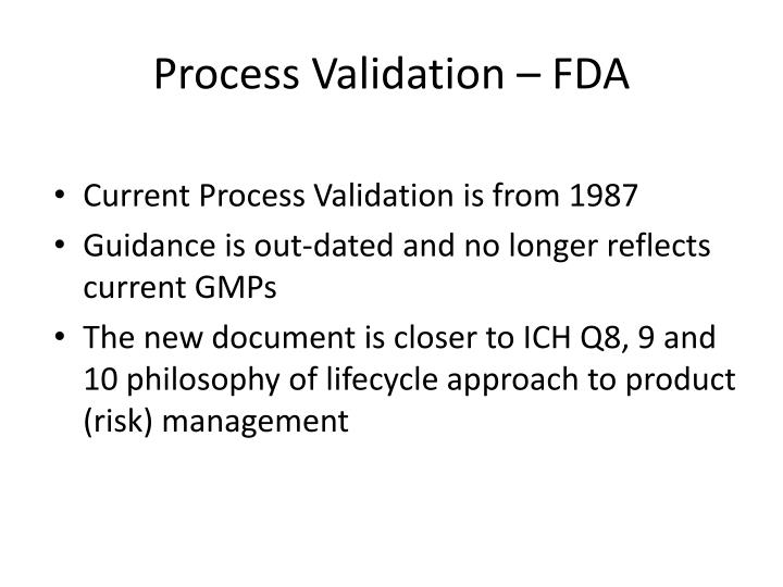 Process Validation – FDA