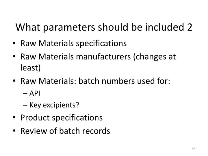 What parameters should be included 2
