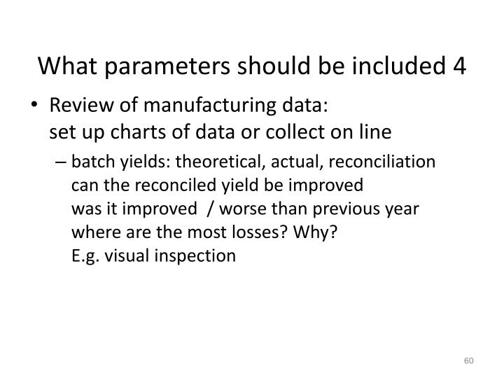 What parameters should be included 4