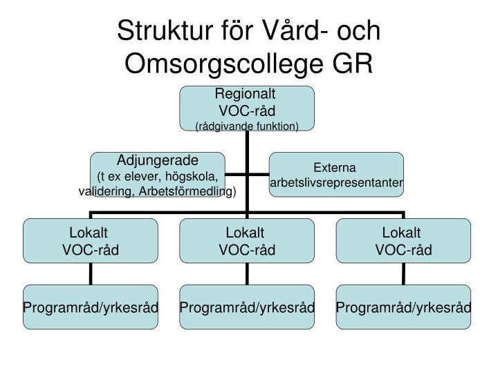 Struktur för Vård- och Omsorgscollege GR