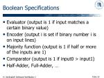 boolean specifications
