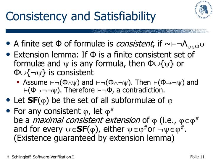 Consistency and Satisfiability