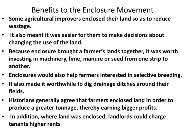 Benefits to the Enclosure Movement