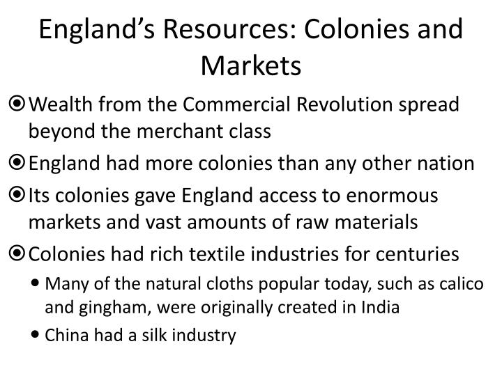 England's Resources: Colonies and Markets
