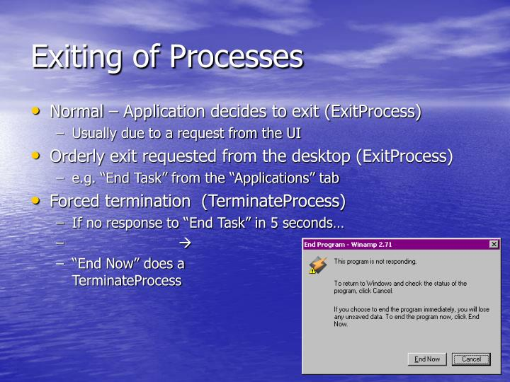 Exiting of Processes