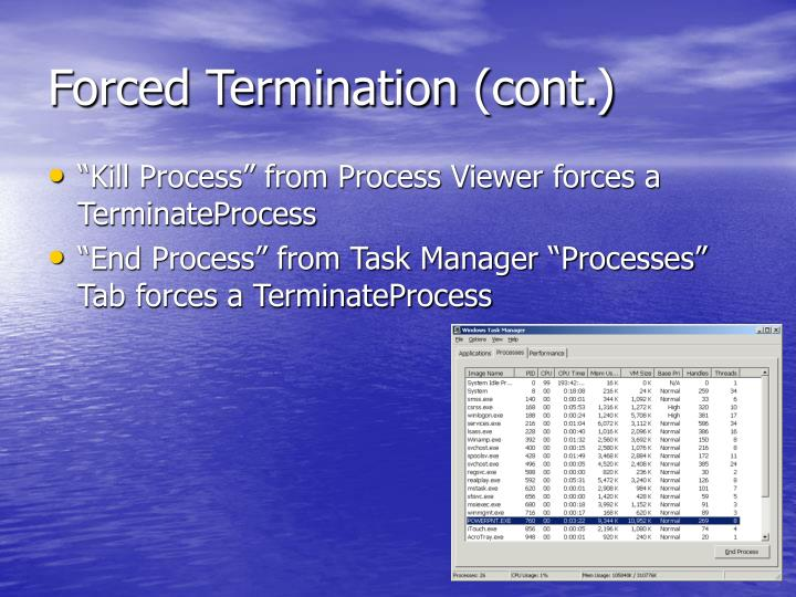 Forced Termination (cont.)