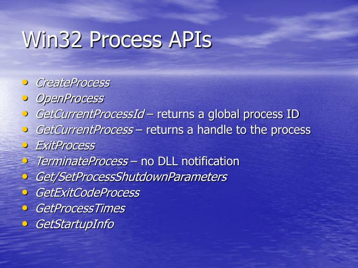 Win32 Process APIs