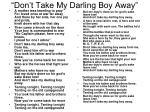 don t take my darling boy away