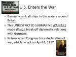 u s enters the war