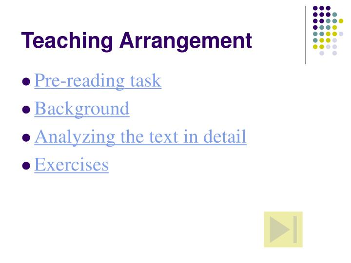 Teaching Arrangement