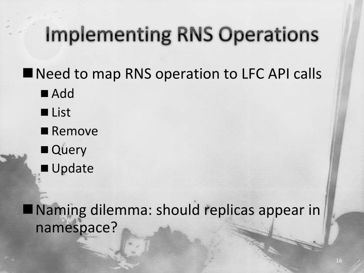 Implementing RNS Operations
