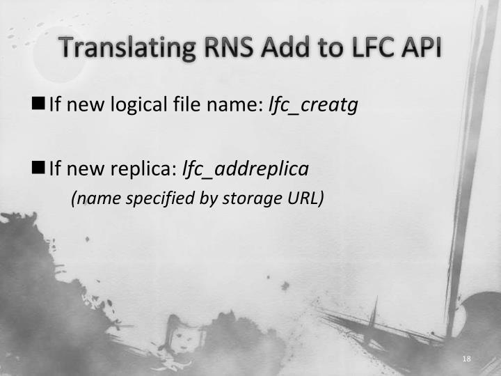 Translating RNS Add to LFC API
