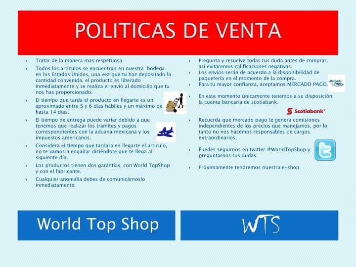 POLITICAS DE VENTA