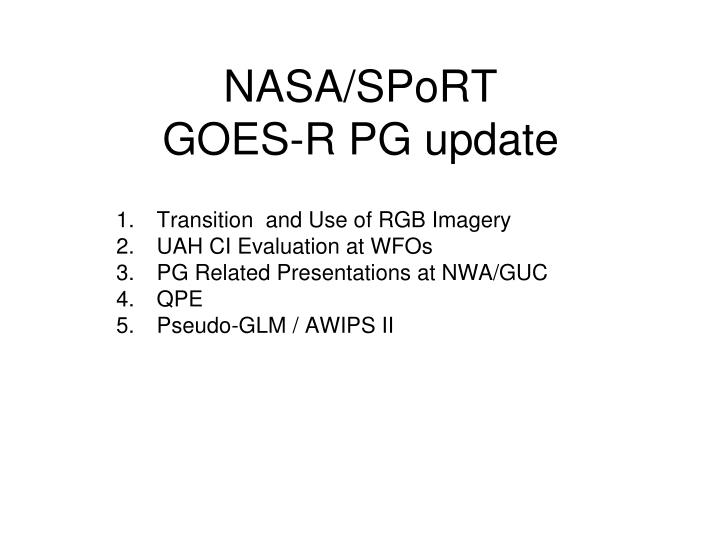 Nasa sport goes r pg update