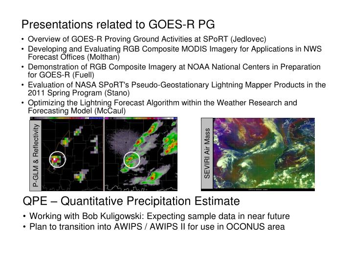Presentations related to GOES-R PG