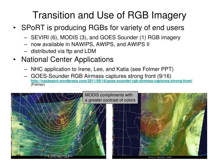 Transition and use of rgb imagery