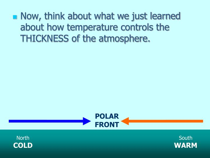 Now, think about what we just learned about how temperature controls the THICKNESS of the atmosphere.