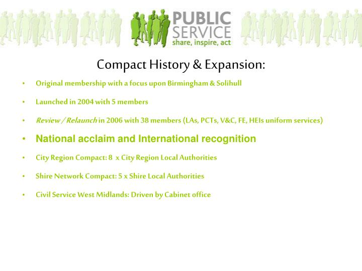 Compact History & Expansion: