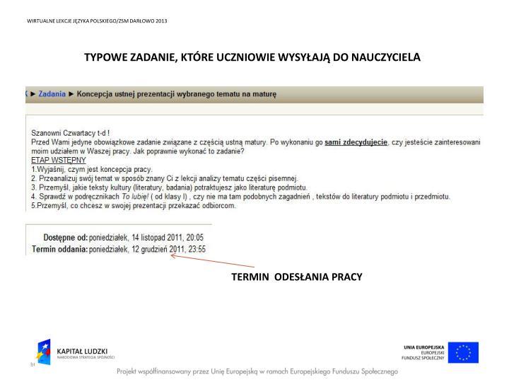 WIRTUALNE LEKCJE JĘZYKA POLSKIEGO/ZSM DARŁOWO 2013