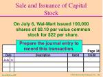 sale and issuance of capital stock1