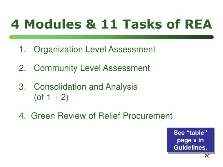 4 Modules & 11 Tasks of REA