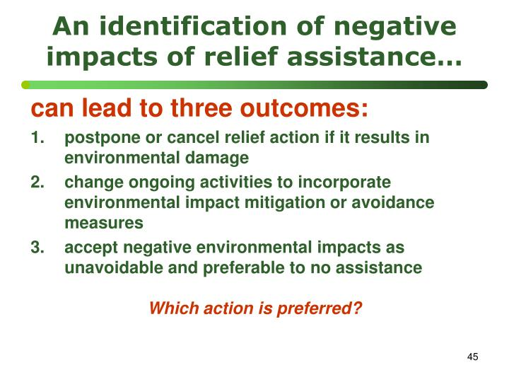An identification of negative impacts of relief assistance…