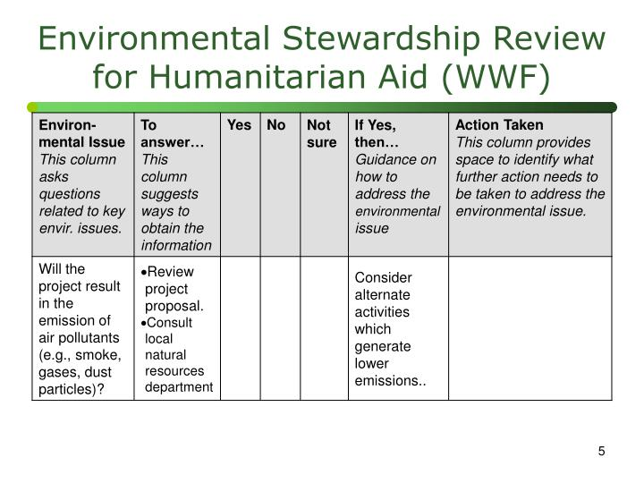 Environmental Stewardship Review for Humanitarian Aid (WWF)