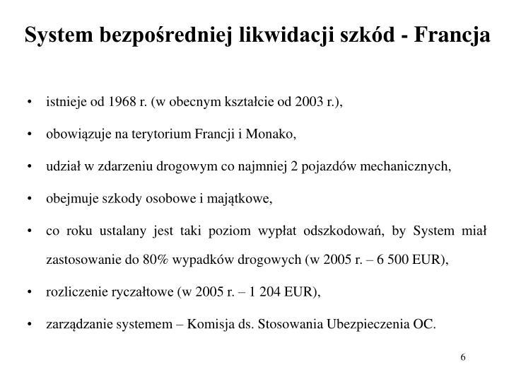System bezpośredniej likwidacji szkód - Francja