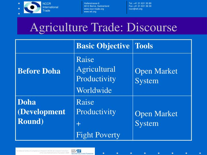 Agriculture trade discourse