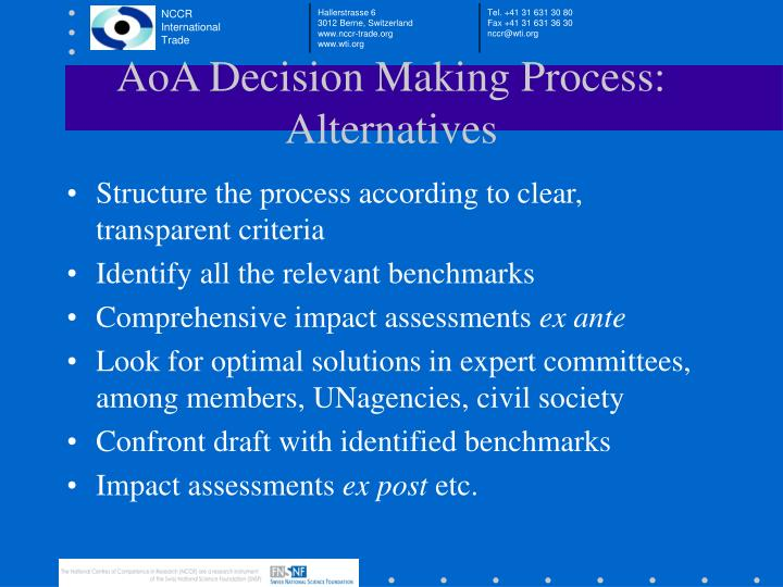 AoA Decision Making Process: Alternatives