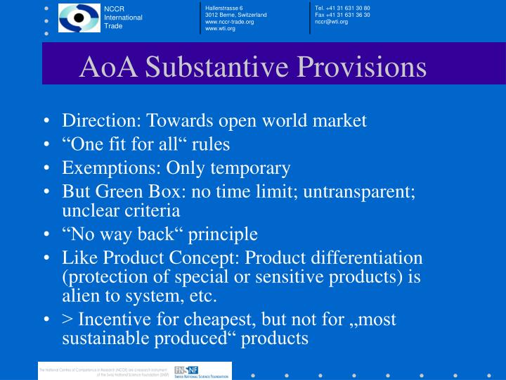 AoA Substantive Provisions